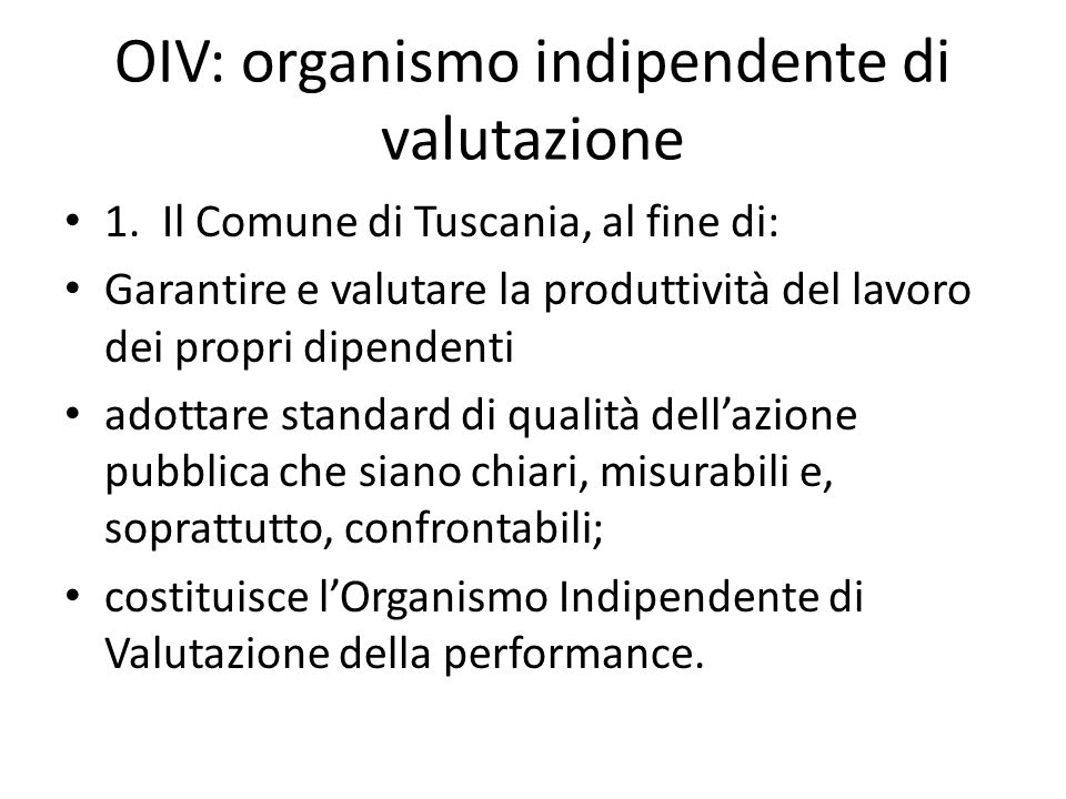 OIV: organismo indipendente di valutazione
