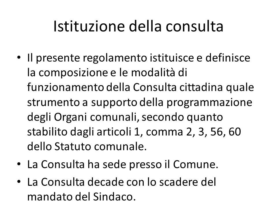 Istituzione della consulta