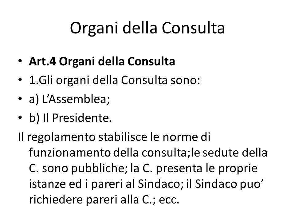 Organi della Consulta Art.4 Organi della Consulta