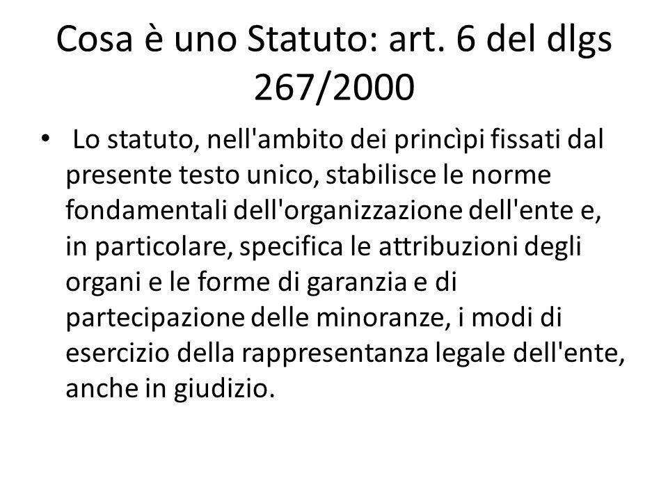 Cosa è uno Statuto: art. 6 del dlgs 267/2000