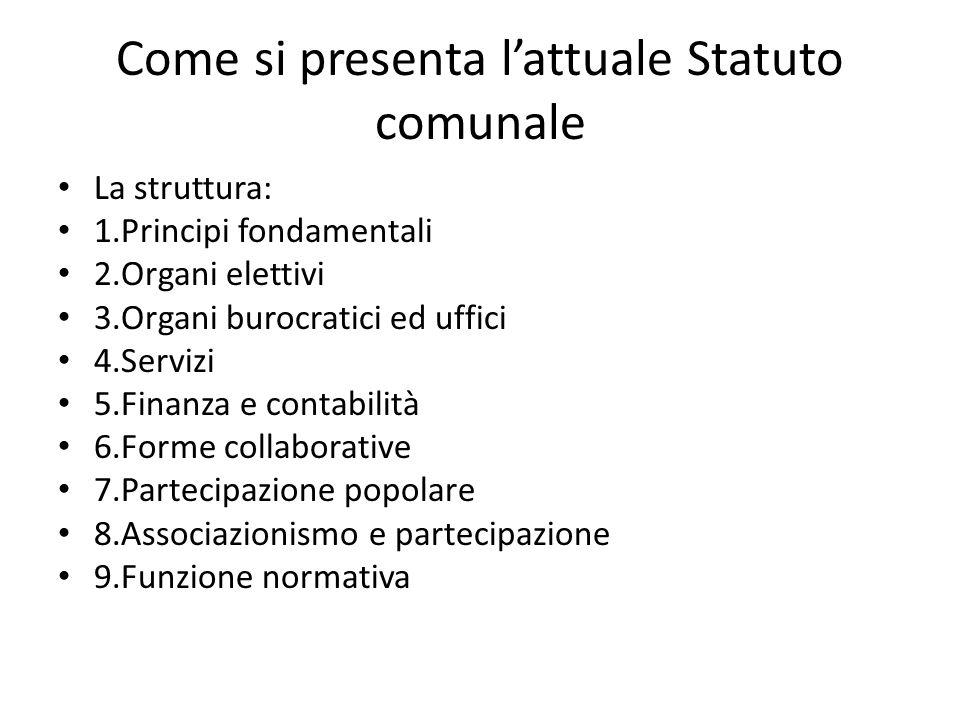 Come si presenta l'attuale Statuto comunale
