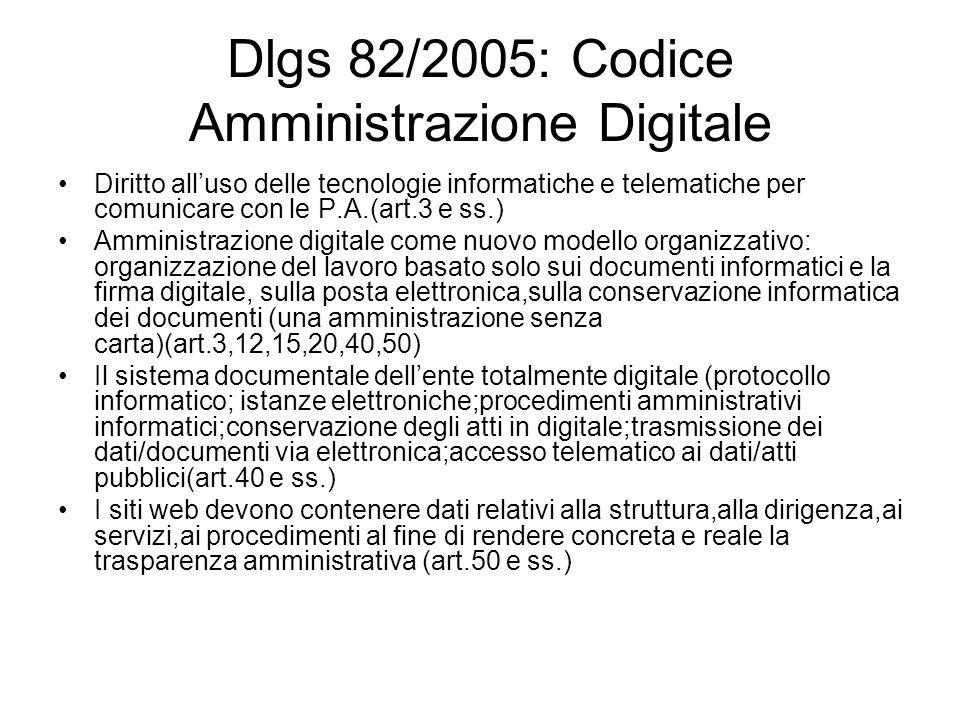Dlgs 82/2005: Codice Amministrazione Digitale