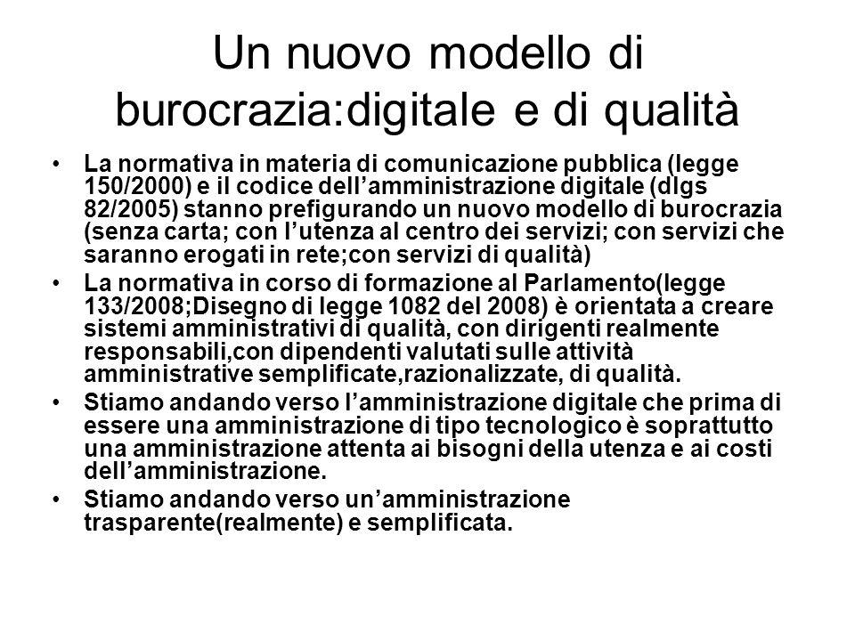 Un nuovo modello di burocrazia:digitale e di qualità