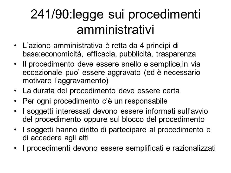 241/90:legge sui procedimenti amministrativi
