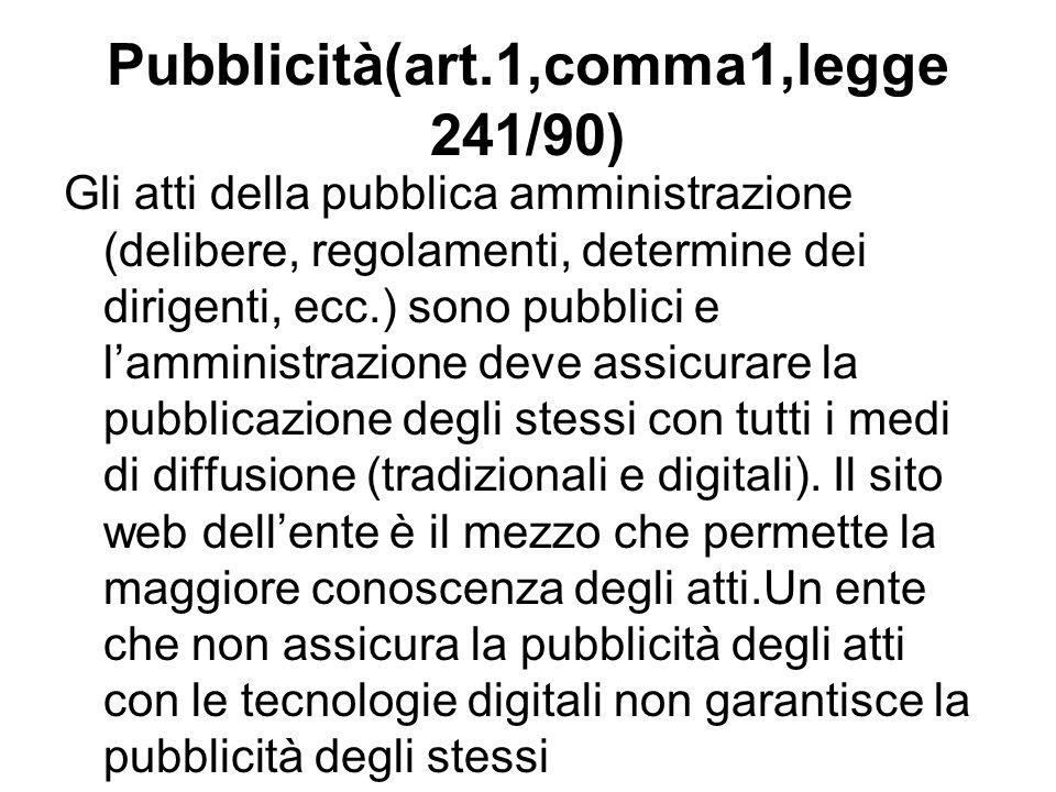 Pubblicità(art.1,comma1,legge 241/90)