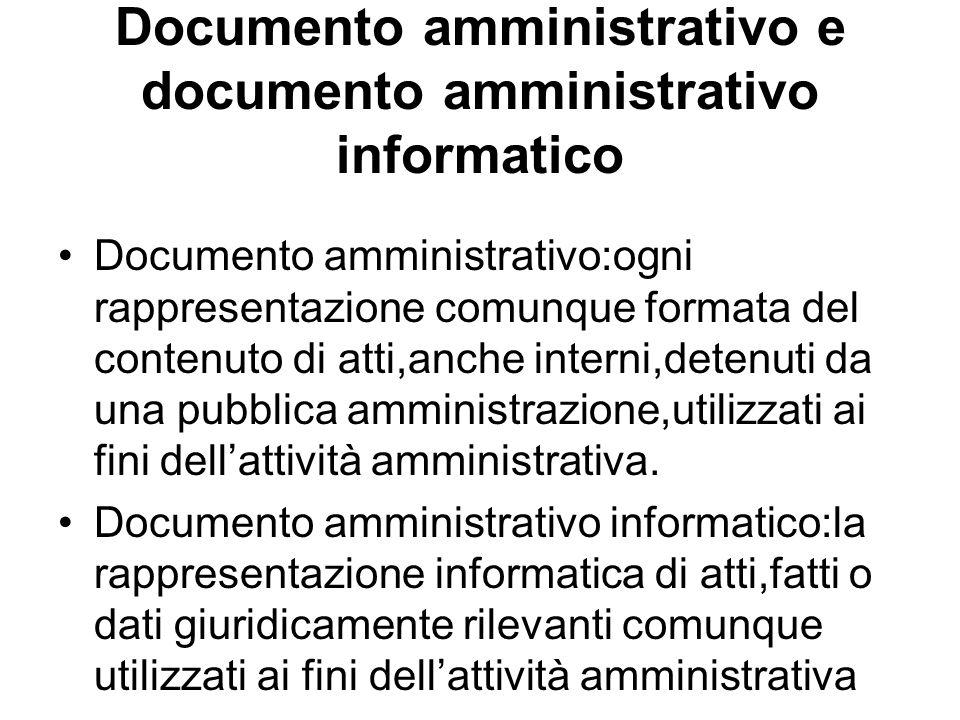 Documento amministrativo e documento amministrativo informatico