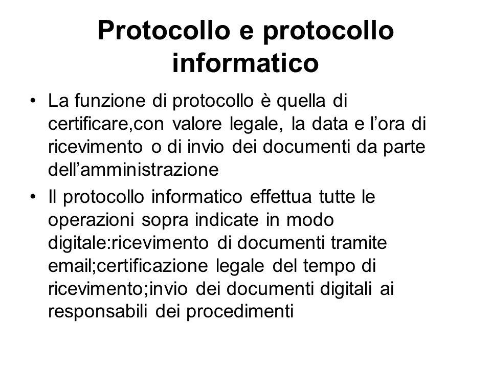 Protocollo e protocollo informatico