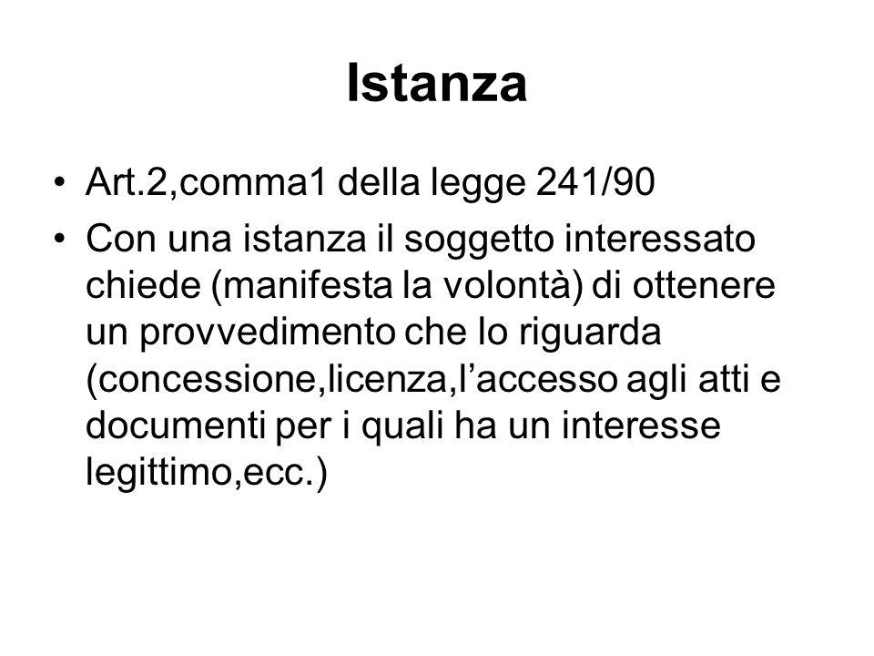 Istanza Art.2,comma1 della legge 241/90