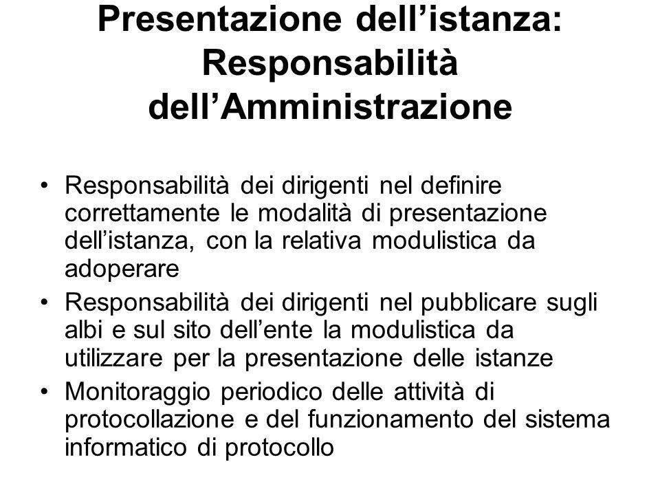 Presentazione dell'istanza: Responsabilità dell'Amministrazione