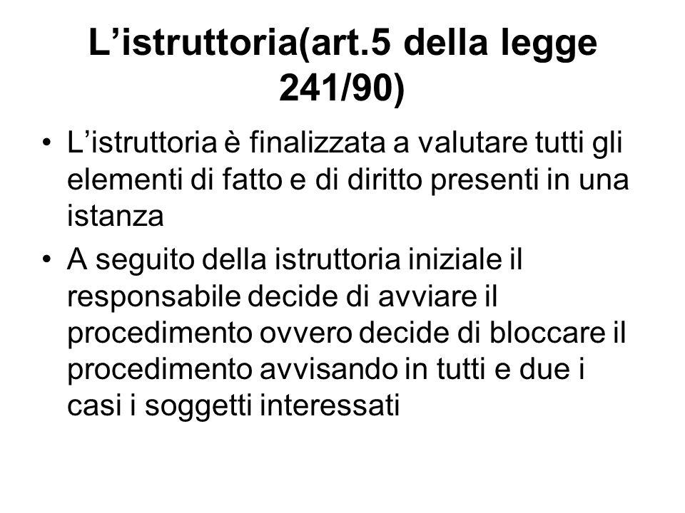 L'istruttoria(art.5 della legge 241/90)