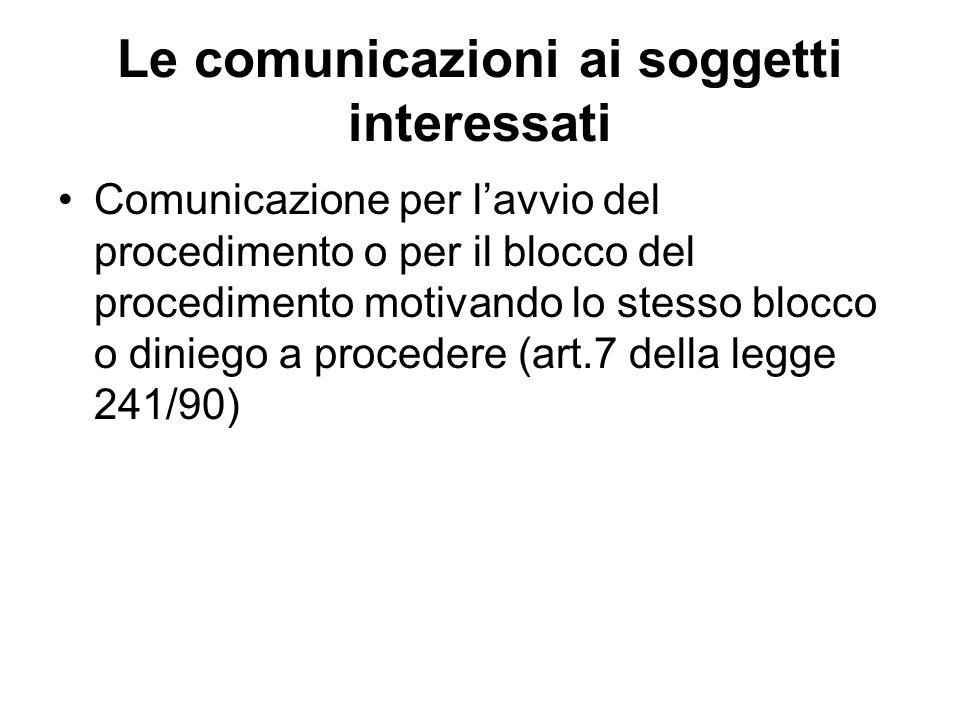 Le comunicazioni ai soggetti interessati