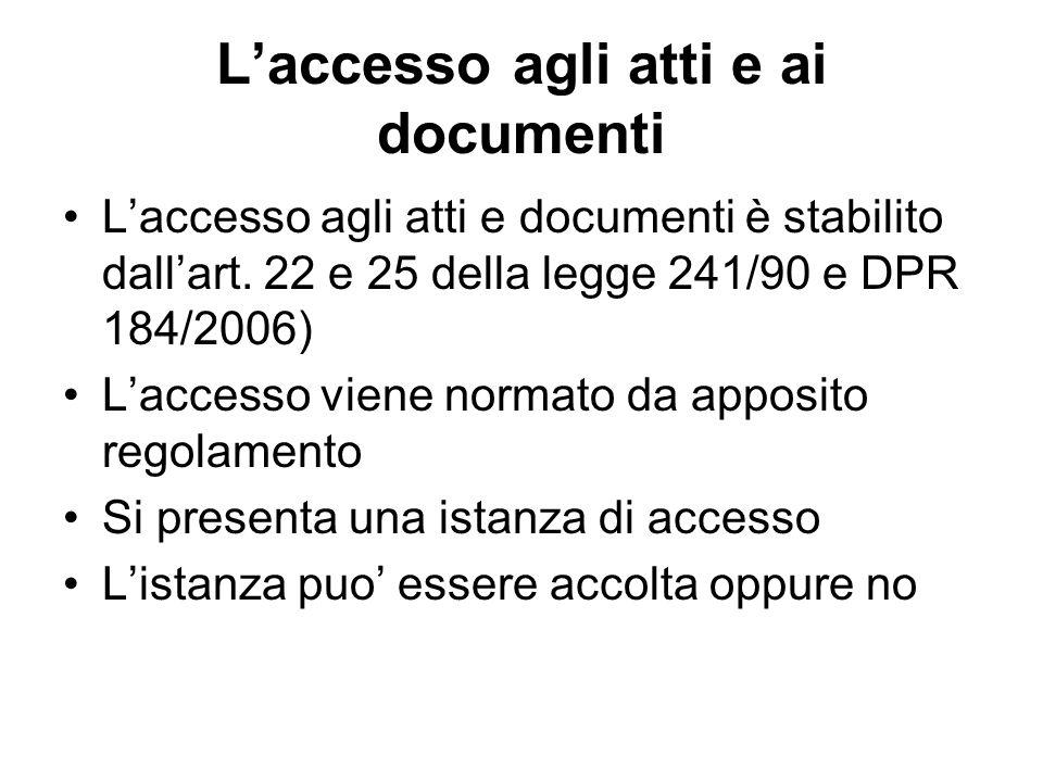 L'accesso agli atti e ai documenti