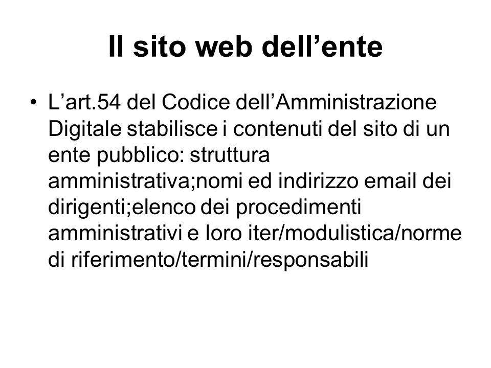 Il sito web dell'ente