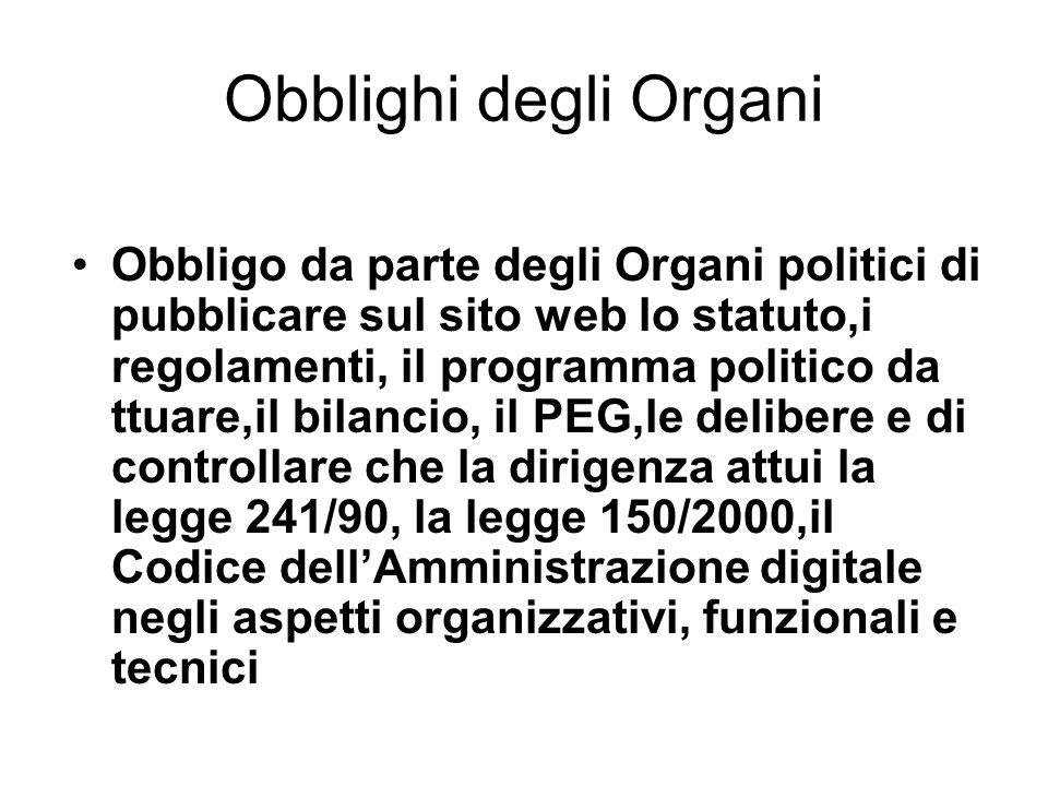 Obblighi degli Organi