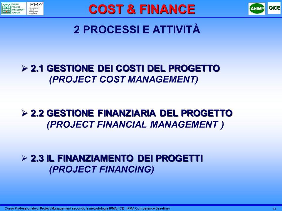 COST & FINANCE 2 PROCESSI E ATTIVITÀ
