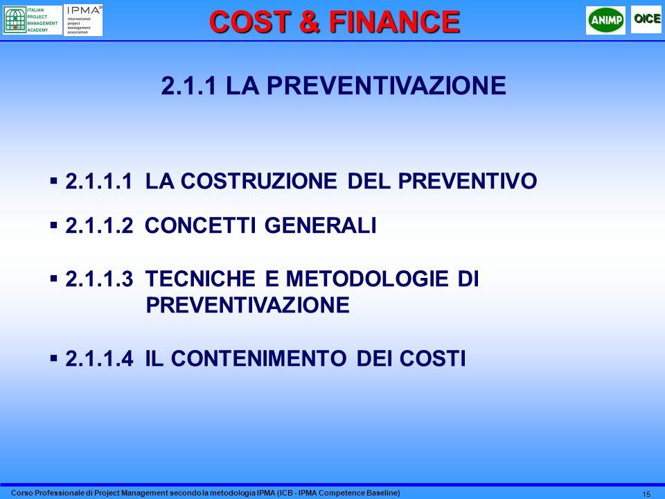 COST & FINANCE 2.1.1 LA PREVENTIVAZIONE
