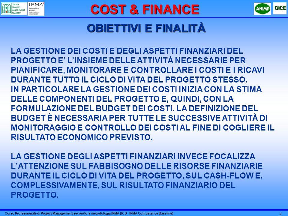 COST & FINANCE OBIETTIVI E FINALITÀ