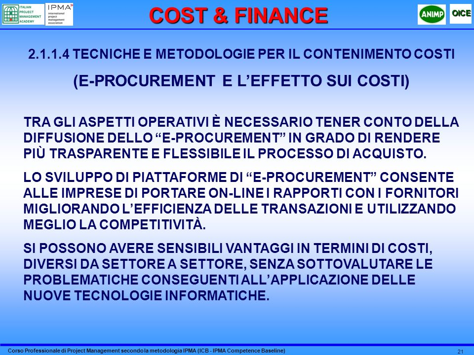 COST & FINANCE (E-PROCUREMENT E L'EFFETTO SUI COSTI)