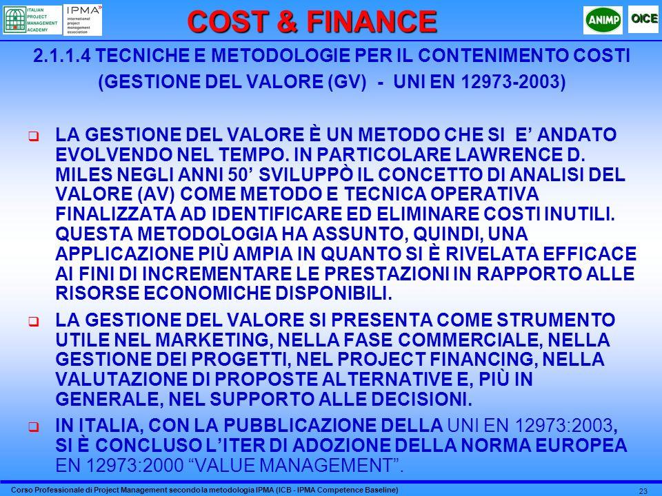 COST & FINANCE 2.1.1.4 TECNICHE E METODOLOGIE PER IL CONTENIMENTO COSTI. (GESTIONE DEL VALORE (GV) - UNI EN 12973-2003)