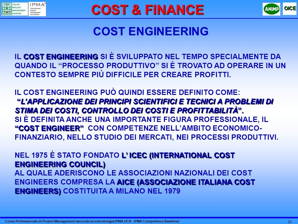 COST & FINANCE COST ENGINEERING