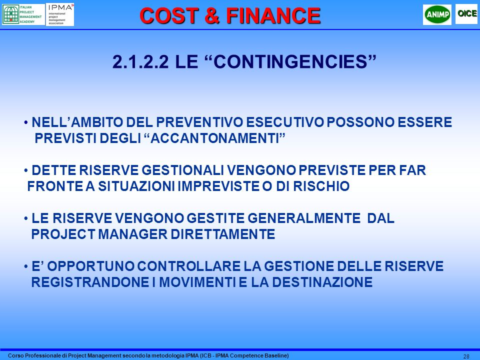 COST & FINANCE 2.1.2.2 LE CONTINGENCIES