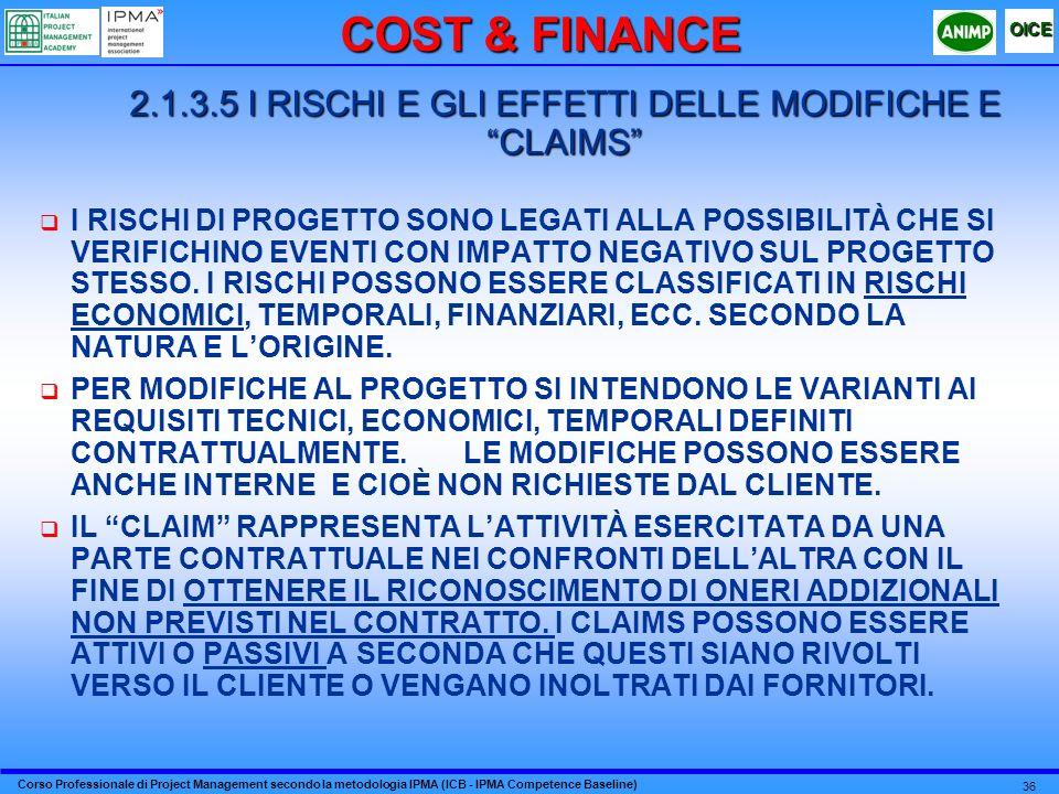 2.1.3.5 I RISCHI E GLI EFFETTI DELLE MODIFICHE E CLAIMS