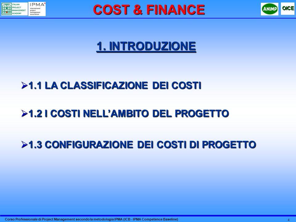 COST & FINANCE 1. INTRODUZIONE 1.1 LA CLASSIFICAZIONE DEI COSTI
