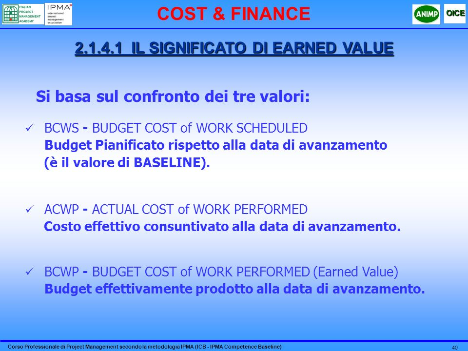 2.1.4.1 IL SIGNIFICATO DI EARNED VALUE