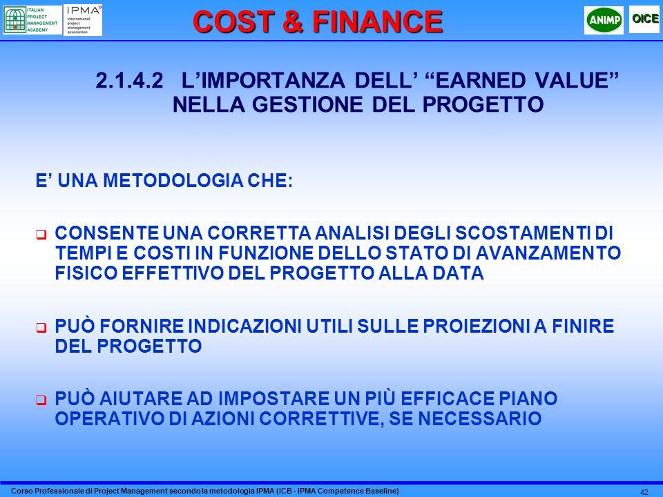 2.1.4.2 L'IMPORTANZA DELL' EARNED VALUE NELLA GESTIONE DEL PROGETTO