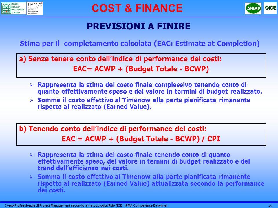 COST & FINANCE PREVISIONI A FINIRE