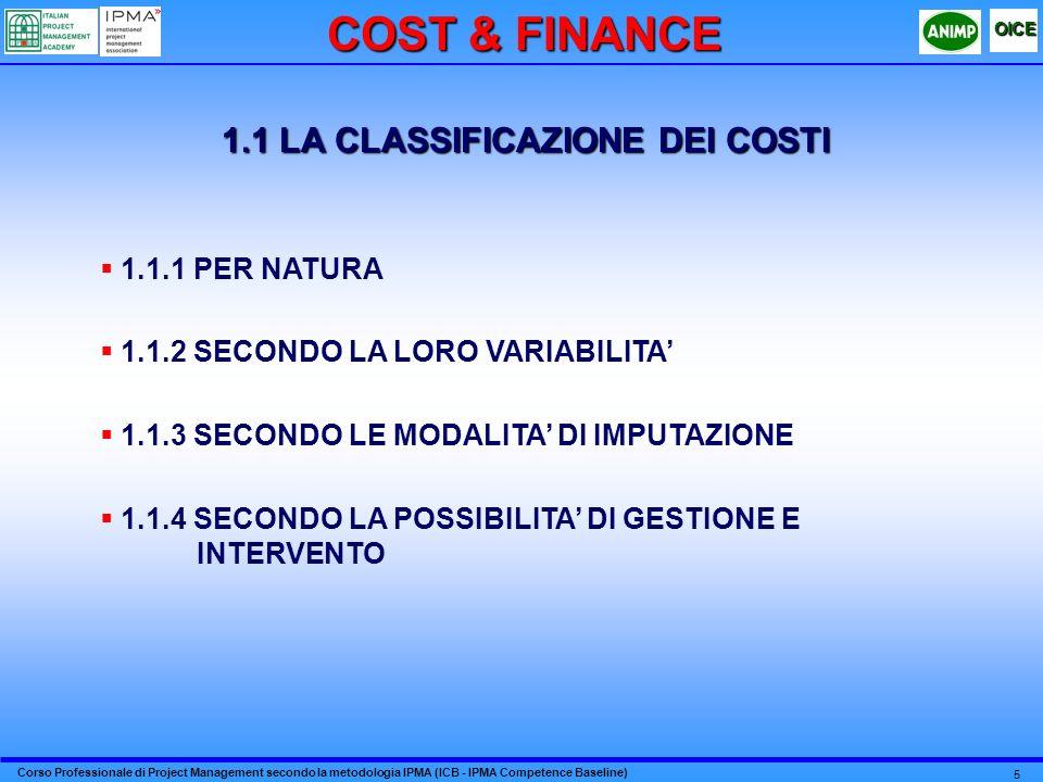1.1 LA CLASSIFICAZIONE DEI COSTI