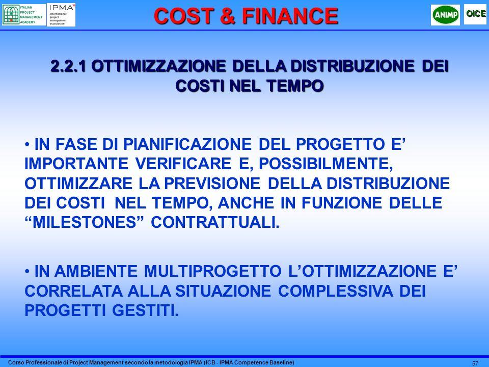 2.2.1 OTTIMIZZAZIONE DELLA DISTRIBUZIONE DEI COSTI NEL TEMPO
