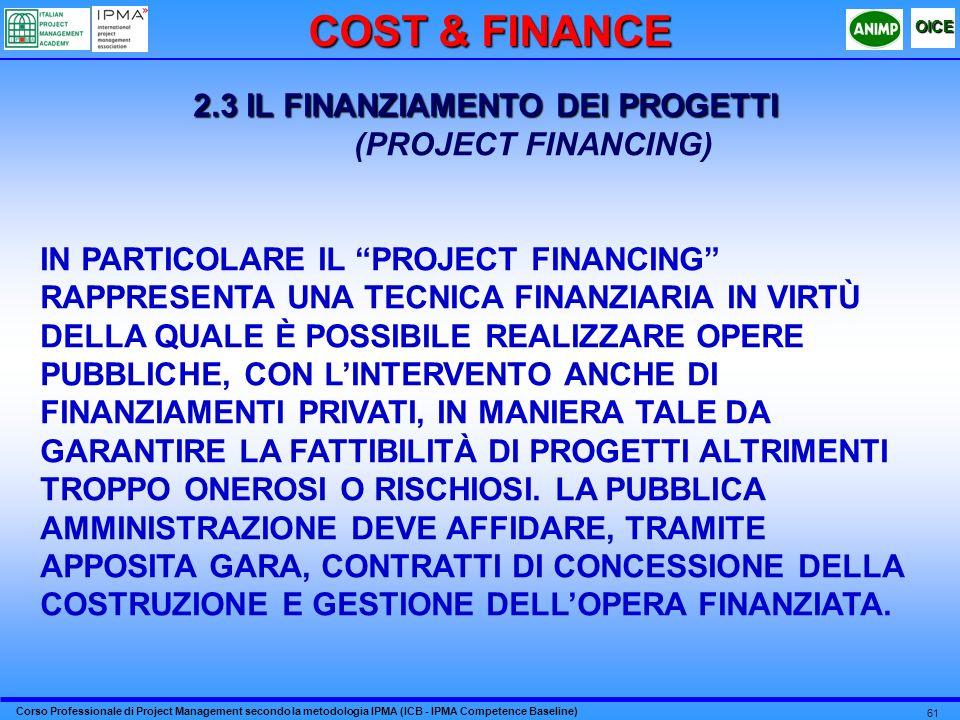 2.3 IL FINANZIAMENTO DEI PROGETTI