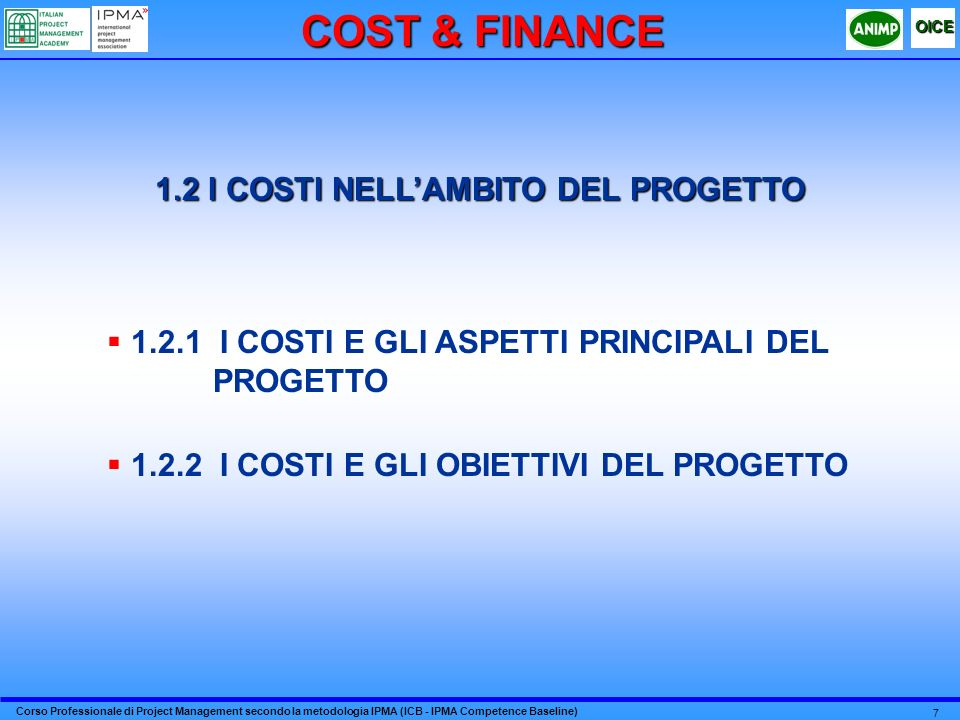 1.2 I COSTI NELL'AMBITO DEL PROGETTO