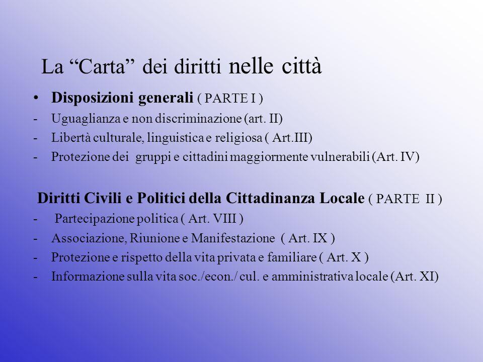 La Carta dei diritti nelle città