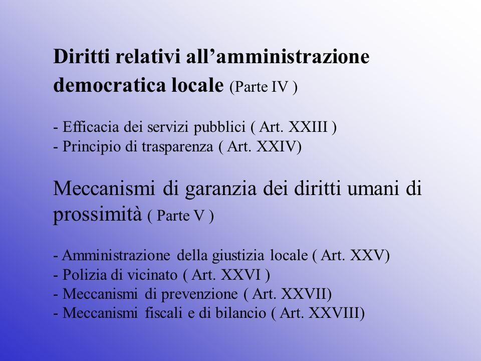 Meccanismi di garanzia dei diritti umani di prossimità ( Parte V )