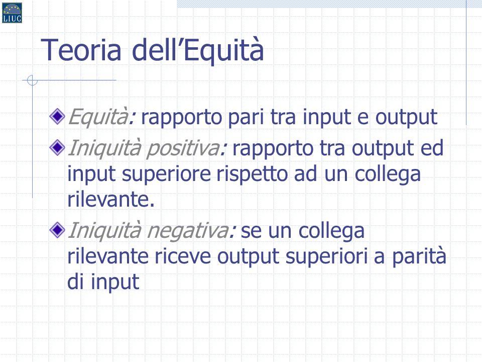 Teoria dell'Equità Equità: rapporto pari tra input e output