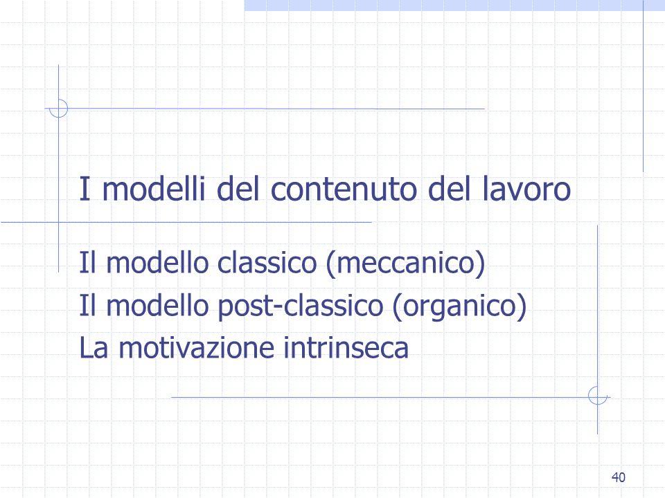 I modelli del contenuto del lavoro