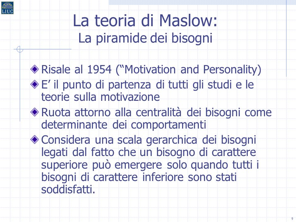 La teoria di Maslow: La piramide dei bisogni