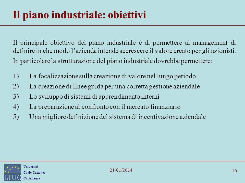 Il piano industriale: obiettivi
