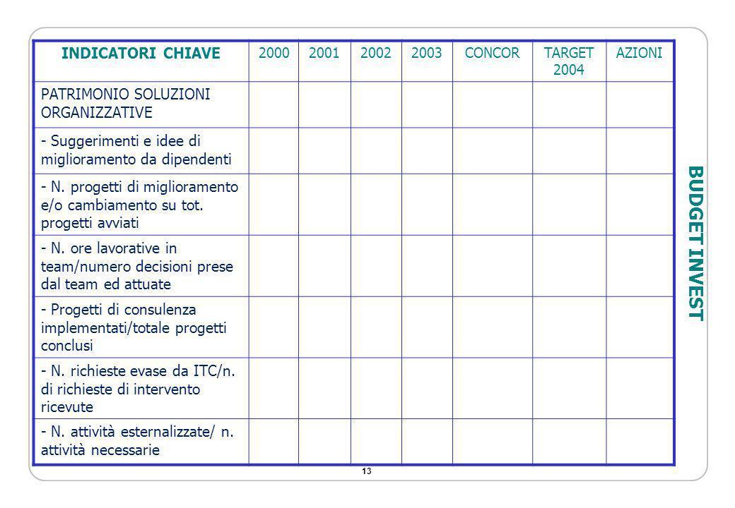 BUDGET INVEST INDICATORI CHIAVE PATRIMONIO SOLUZIONI ORGANIZZATIVE