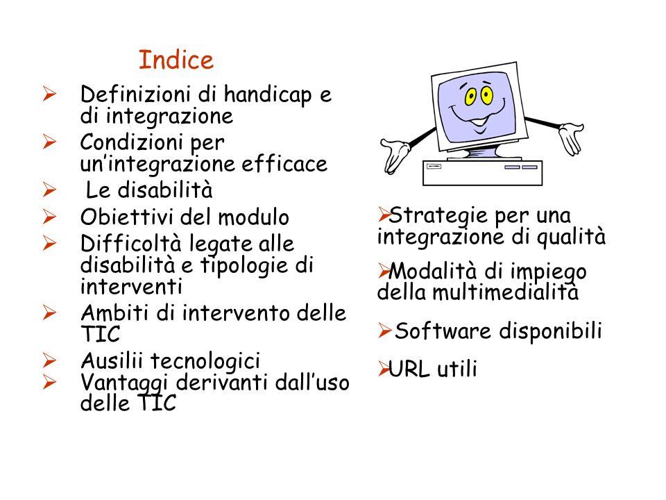 Indice Definizioni di handicap e di integrazione