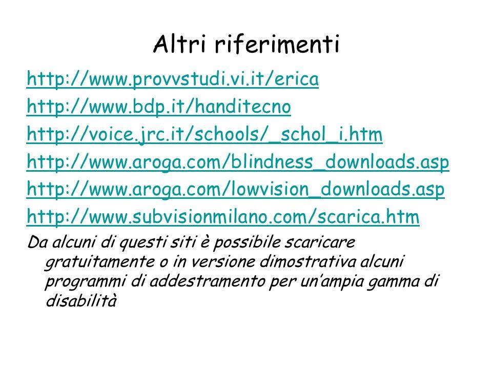 Altri riferimenti http://www.provvstudi.vi.it/erica
