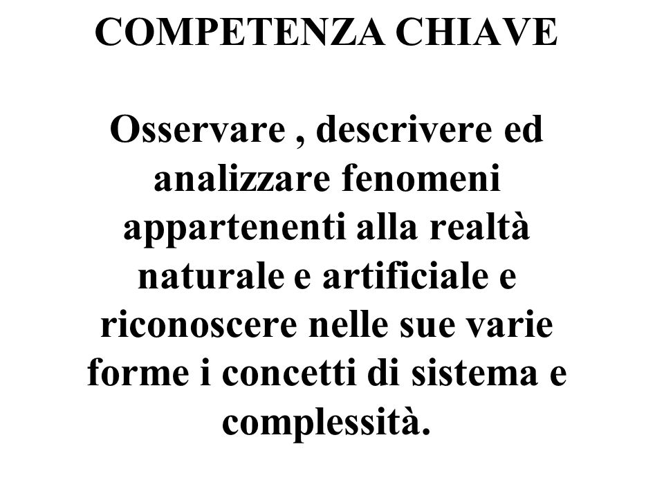 COMPETENZA CHIAVE Osservare , descrivere ed analizzare fenomeni appartenenti alla realtà naturale e artificiale e riconoscere nelle sue varie forme i concetti di sistema e complessità.