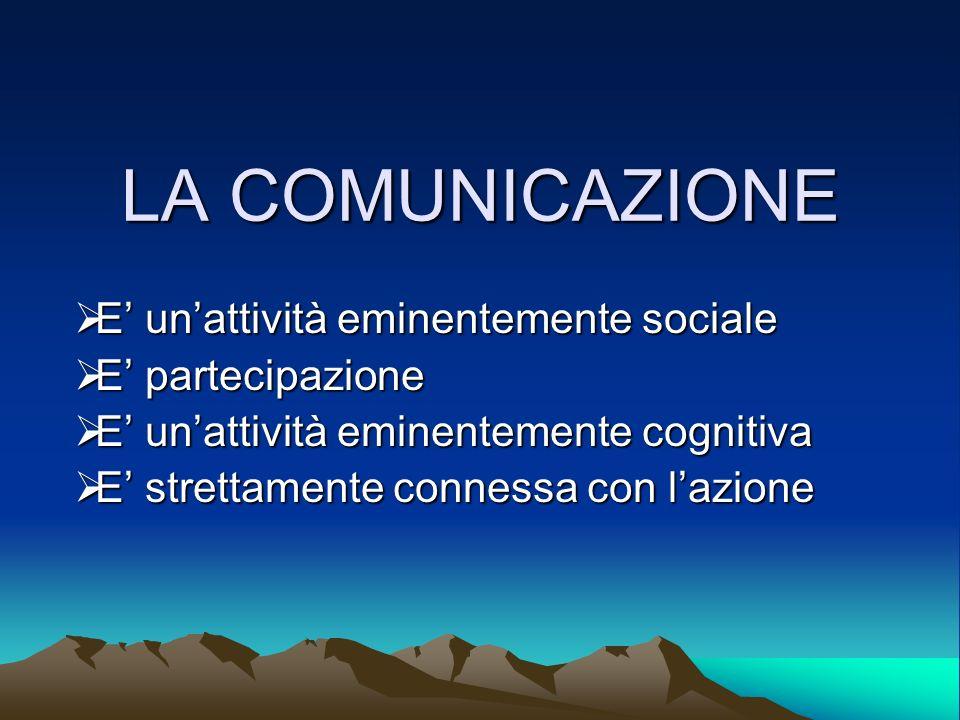LA COMUNICAZIONE E' un'attività eminentemente sociale