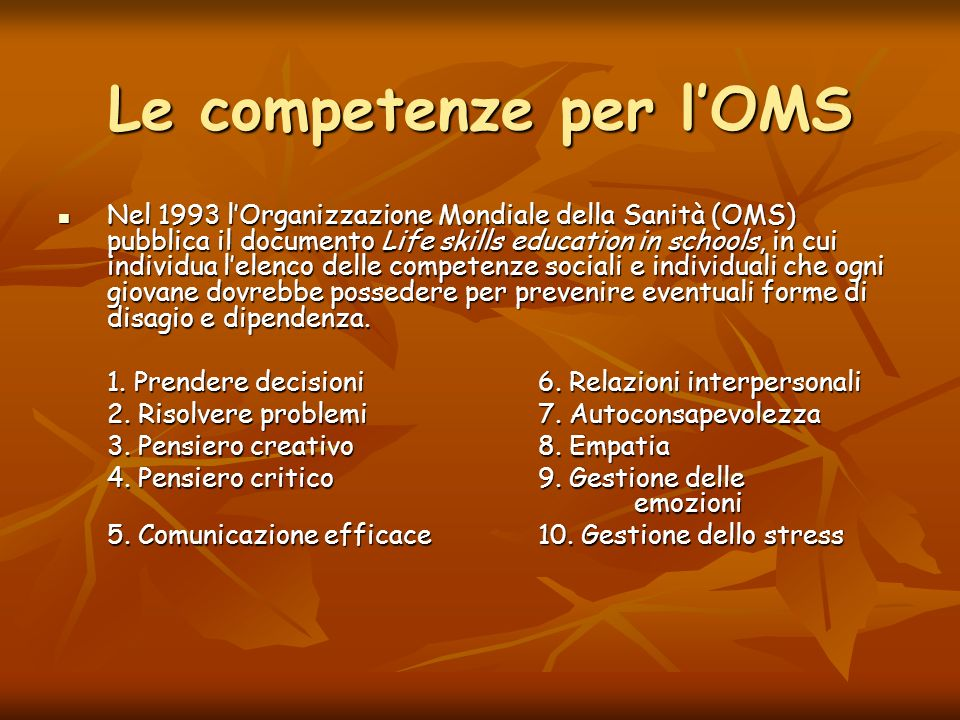 Le competenze per l'OMS