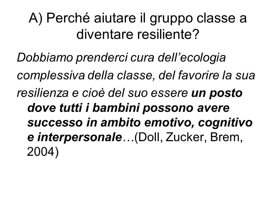 A) Perché aiutare il gruppo classe a diventare resiliente