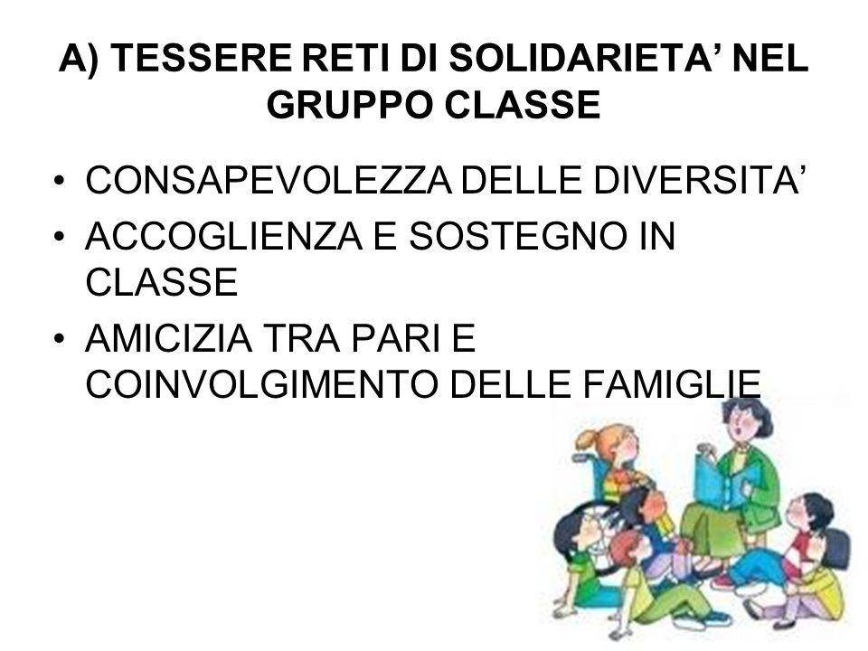 A) TESSERE RETI DI SOLIDARIETA' NEL GRUPPO CLASSE