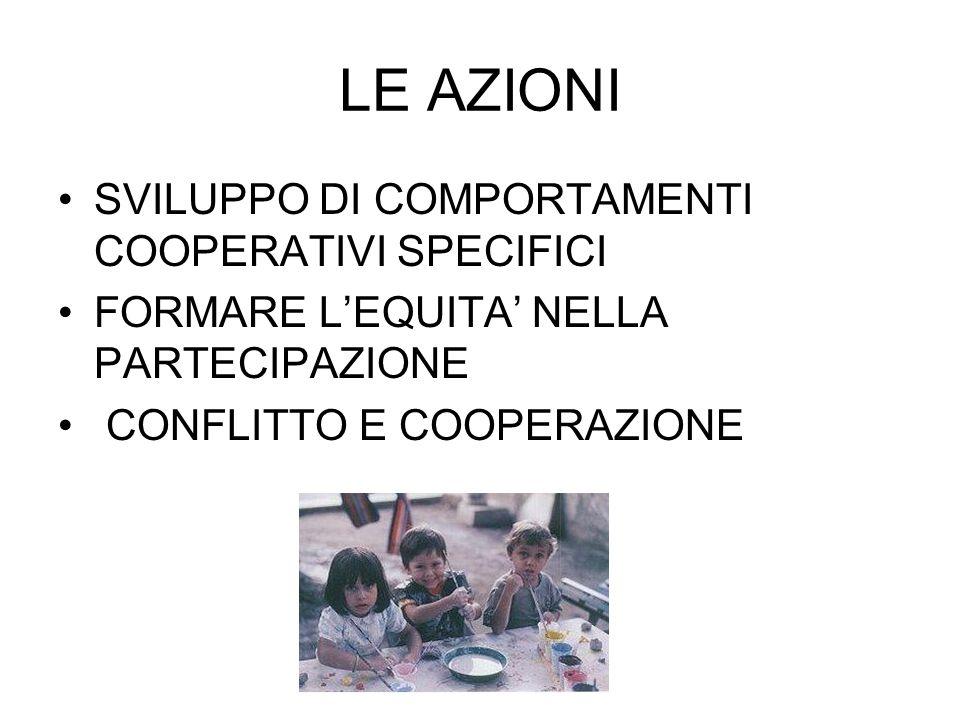 LE AZIONI SVILUPPO DI COMPORTAMENTI COOPERATIVI SPECIFICI