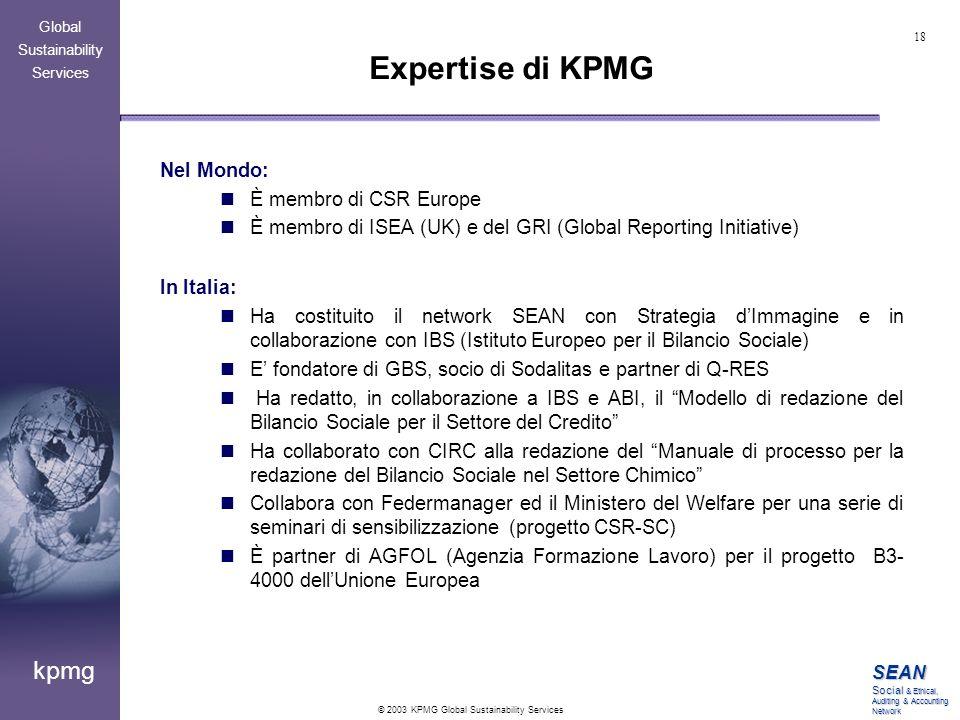 Expertise di KPMG Nel Mondo: È membro di CSR Europe